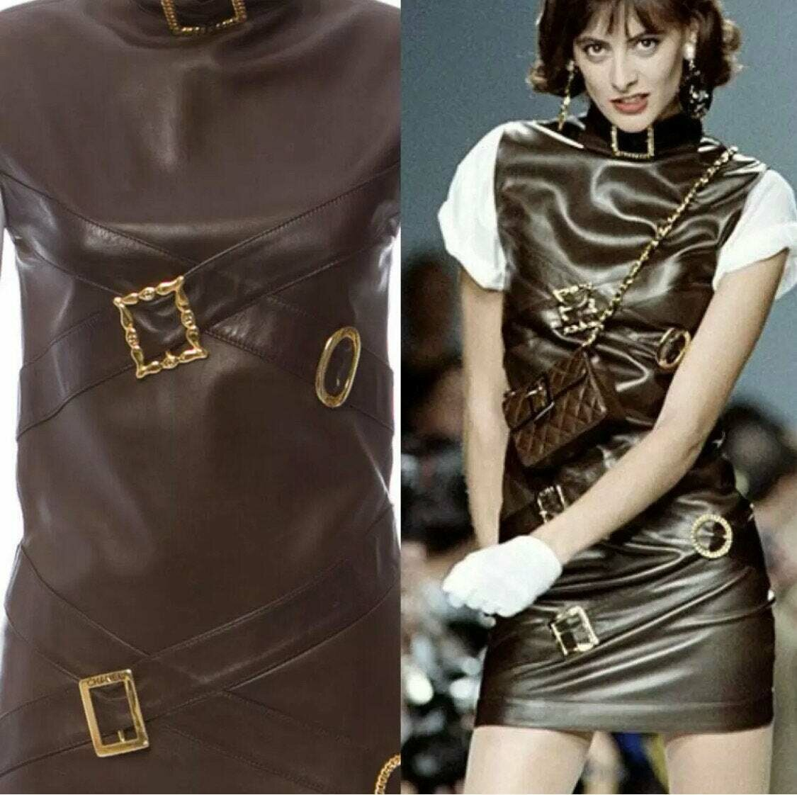 Vintage CHANEL CC Logo Monogram Belt Buckle Brown Leather Dress - RARE Runway Collectors item!!