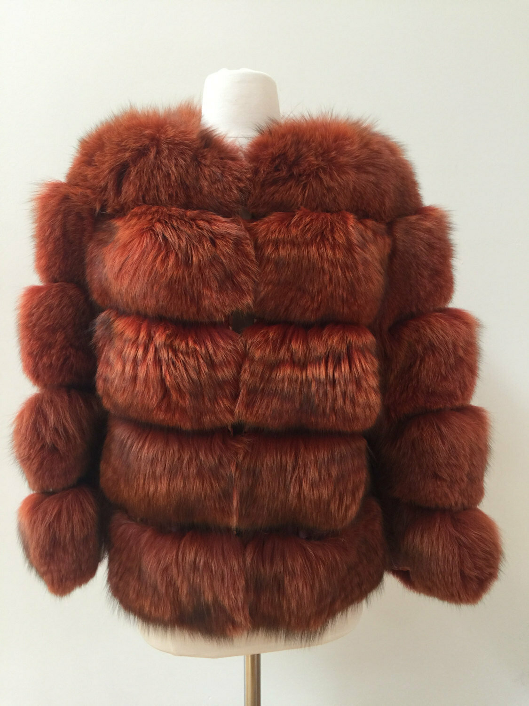Vintage Red Orange FOX FUR Coat Jacket - MINT Gorgeous!!! S M L