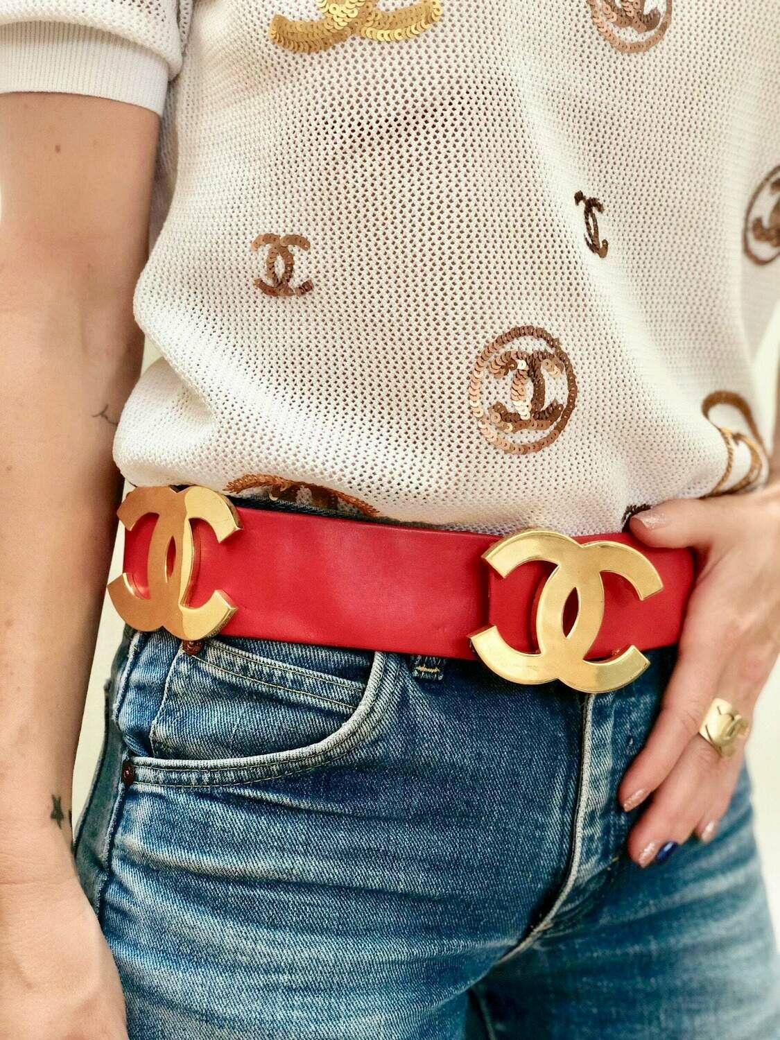 """Vintage 80's CHANEL Huge Gold CC Logo Red Leather Waist Belt Buckle - 75 / 30 - 28"""" Small - Super Rare Collectors Item!"""