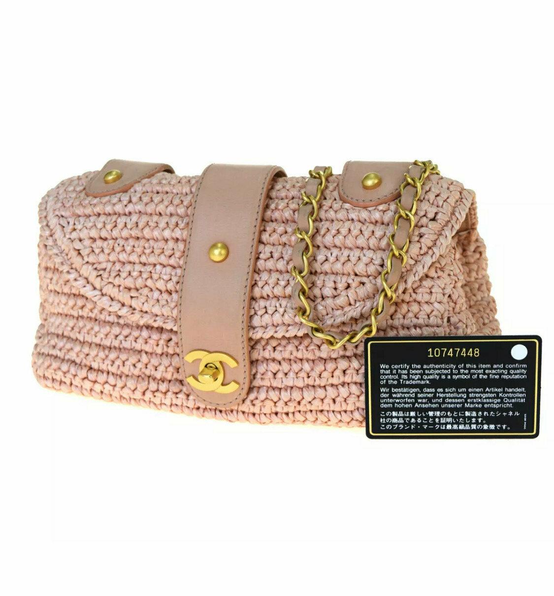 VINTAGE CHANEL CC PINK WOVEN RAFFIA STRAW CROSSBODY BAG