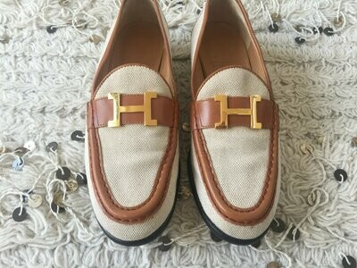 Vintage HERMES H Logo Canvas & Brown Leather Loafers Flats Driving Shoes Smoking Slippers Ballet Flats eu 39 us 8 - 8.5