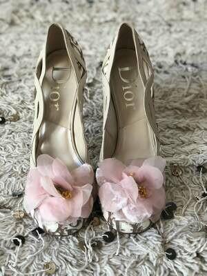 Vintage 90's CHRISTIAN DIOR Paris Trotter Monogram Logo Flotal Pink Flower Pumps Heels Slides eu 37 us 7