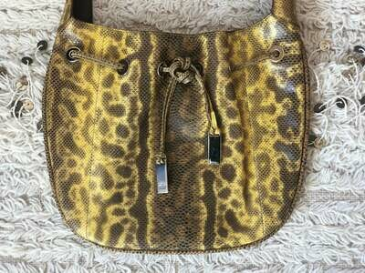 Vintage 90s GUCCI Yellow Brown SNAKE Jackie Top Handle Satchel Bag Purse Clutch - WOW!!!