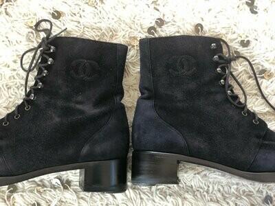 Vintage CHANEL CC Logo Moto Combat Black Suede Leather Lace Up Boots 39 us 8 - 8.5