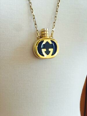 Vintage 90's GUCCI GG Monogram Enamel Blue Gold Perfume Parfum Bottle Gold Charm Pendant Necklace Jewelry