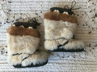 Vintage 70's Shearling Lined Aztec Design Leather Fur Brown Laced Winter Snow Ski Apres Boots us 8 - 8.5