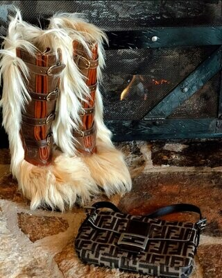 Vintage 70's GUCCI Logo Fur Lined Leather Brown Winter Snow Ski Apres Boots 37 us 6.5 - 7 - Rare!!