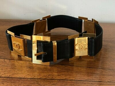 Vintage 90's CHANEL Huge Gold CC Logos Black Leather Waist Belt Buckle - 75 / 30 - S / M - Super Rare Collectors Item!