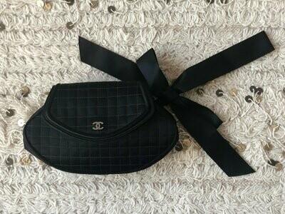 Vintage CHANEL CC Rhinestone Monogram Logo Black Satin Chocolate Bar Quilted Wristlet Bow Clutch Evening Bag Purse