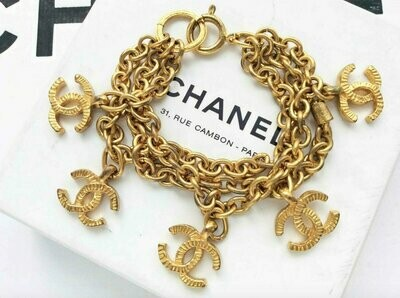 Vintage 90's CHANEL CC LOGO Letters Monogram Gold Plated Charm Bracelet Bangle Cuff Jewelry