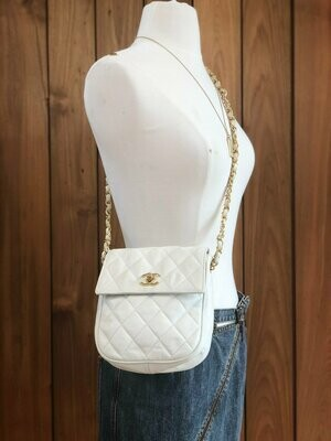 Vintage 90s CHANEL CC Turnlock White Quilted Leather 2 Way Gold Chain Crossbody FANNY Waist Bum Belt Bag Pouch Purse Pack
