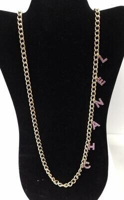 Vintage 90's CHANEL CC Logo Pink Crystal LETTERS Gold Charm Pendant Long Necklace Jewelry Belt