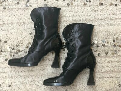Vintage 90's CHANEL Black Leather Lace up Victorian Witchy Goth Biker Moto Combat Boots with Sculpted Heels! Eu 38 us 7 - 7.5  Rare!!