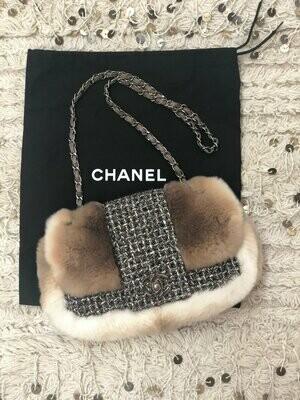 Vintage 90's CHANEL CC Turnlock Classic Flap Beige Brown FUR Leather Black Tweed Chain Shoulder Bag Purse