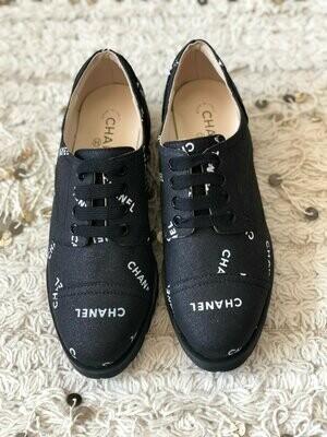 Vintage CHANEL Letters Logo Cap Toe Black White Sneakers Oxford Lace Ups Boots eu 38 us 7 - 7.5 - MINT