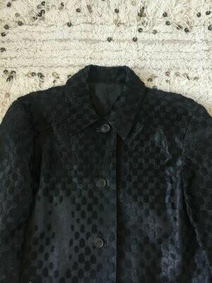 Vintage 90's GUCCI Logo GG Monogram Tom Ford Era Pony Calf Hair Button down Black Leather Jacket Blazer - AMAZING!!!  It 44  Us M / L