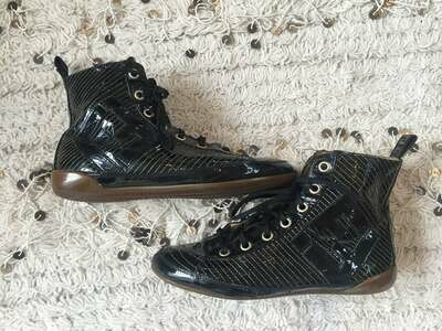Vintage FENDI Zucca FF Logos Black Patent leather Lace Up Sneakers High Tops Boots 38 / us 7.5 - 8 Rare!!!