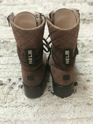Vintage 90's CHANEL CC Logo COMBAT Biker Moto Brown Lace Up Leather Quilted Boots Eu 37 us 6.5 - 7 - Rare!!