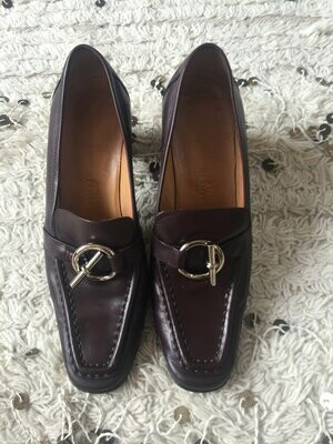 Vintage HERMES H Toggle Ring Logo Black Leather Loafers Heels Driving Shoes Smoking Slippers Ballet Flats 39 us 8.5 - 9