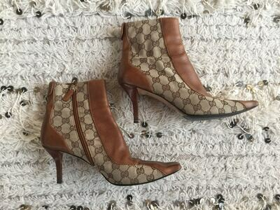 Vintage 90's GUCCI GG MONOGRAM Logo Brown Canvas Leather Boots Booties Heels eu 36.5 us 6 - 6.5