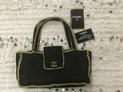 Vintage 90's CHANEL CC TURNLOCK Brown Suede Shearling Shoulder Bag Purse Tote with Auth Card!