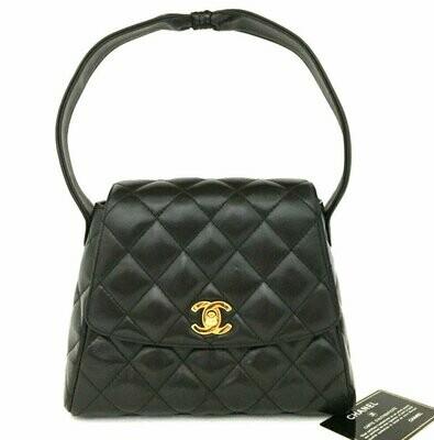 Vintage CHANEL CC Logo Turnlock Black Quilted Metalasse Lambskin Leather Top Handle Bag Kelly Purse Satchel