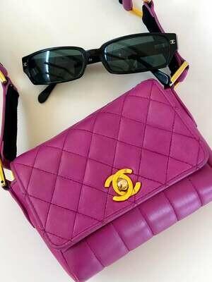Vintage CHANEL CC Logo Matelasse Quilted MINI Pink Violet Leather Camera Bag Shoulder Purse