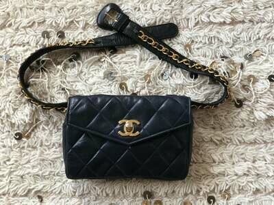 Vintage 90s CHANEL CC Turnlock Navy / Black Quilted Leather Gold Chain FANNY Waist Bum Belt Bag Pouch Purse Pack
