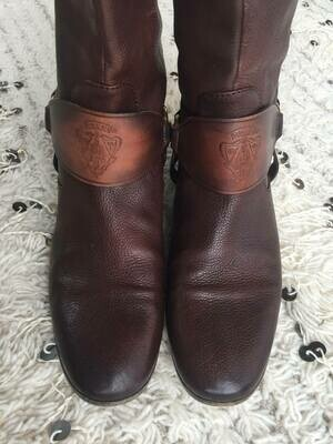 Vintage GUCCI GG Crest HARNESS Moto Riding Knee High Boots Distressed Brown Cognac Leather eu 39.5 us 9 - 9.5