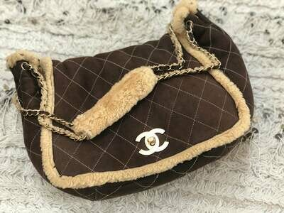 Vintage 90's CHANEL Large CC Turnlock Classic Flap Brown Beige SHEARLING Fur Lambs Wool Suede Leather Chain Shoulder Bag Purse