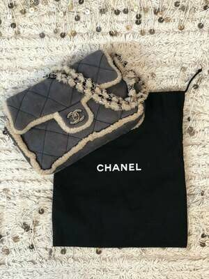 Vintage 90's CHANEL CC Turnlock Gray Beige Classic Flap SHEARLING Fur Lambs Wool Suede Leather Chain Shoulder Bag Purse