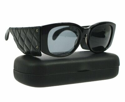 Vintage Rare CHANEL PARIS 1987 Matelasse Quilted Black Leather Frames Sunglasses