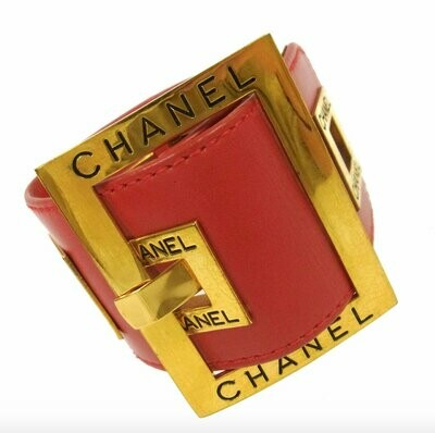 Vintage 80's CHANEL Letters CC Logo Monogram Iconic Large Red Leather Gold Buckle Belt Bracelet Bangle Cuff - Super RARE !!