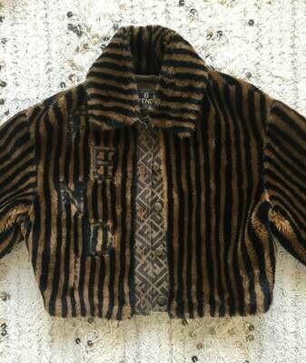 Vintage 90's FENDI FF ZUCCA Monogram Striped Eco Fur Bomber Jacket Evening Dress Coat Xs S M - Super Rare!!!