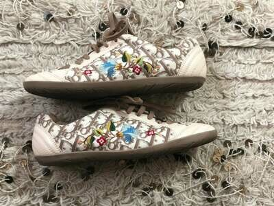 Vintage Christian Dior Beige White Monogram Floral Embroidery Leather Sneakers Trainers Sport Shoes Sz 39 us 8 - 8.5