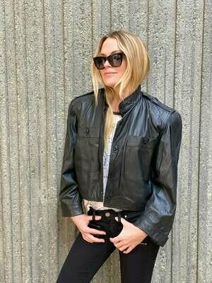 Vintage 80's GUCCI Black Leather CROP Jacket Moto Blazer Padded Shoulders - AMAZING!!!  S / M