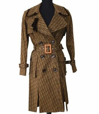Vintage 90's CHRISTIAN DIOR Paris John Galliano Monogram Trotter Brown Velvet Trench Jacket Coat Blazer