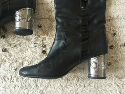 Vintage 90's CHANEL Logo Metal Heels OTK Over the Knee Riding Black Leather Patent Boots 37 us 6.5 - 7