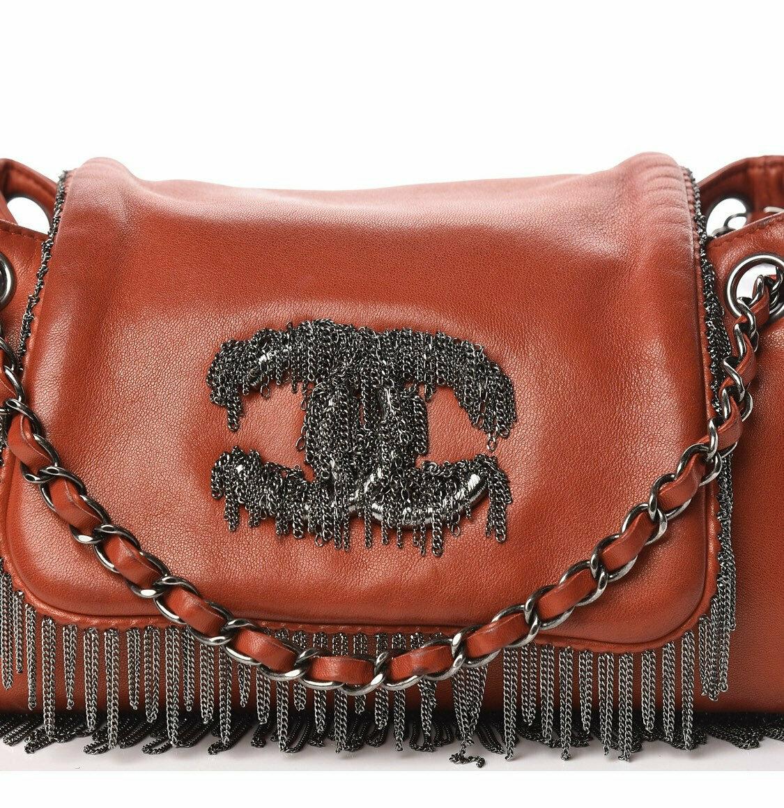 Vintage CHANEL Red Leather CC Logo Chain Fringe Shoulder Crossbody Collectors Bag! Rare! Rock n Roll