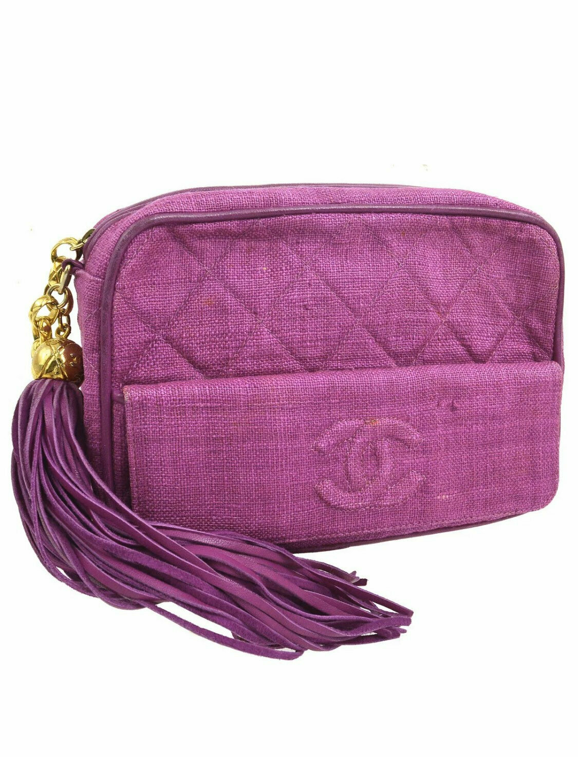 Vintage CHANEL CC Logo Matelasse Quilted Pink Linen / Leather Chain CROSSBODY Camera Bag Clutch Purse Bag with fringe tassel