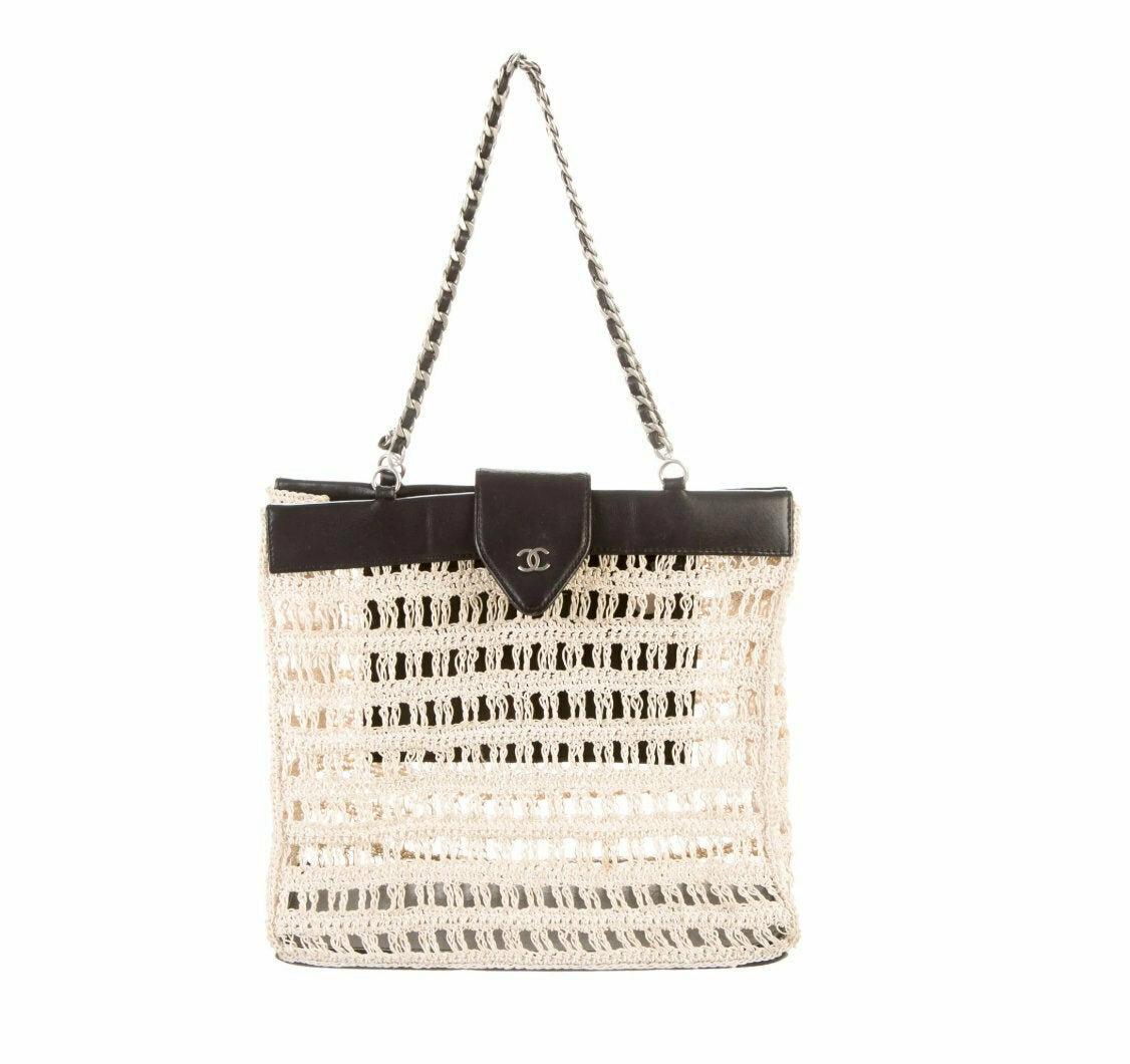 Vintage 90's CHANEL CC Logo Black Leather Beige Crochet Woven Knit Shoulder Tote Handbag Purse Bag