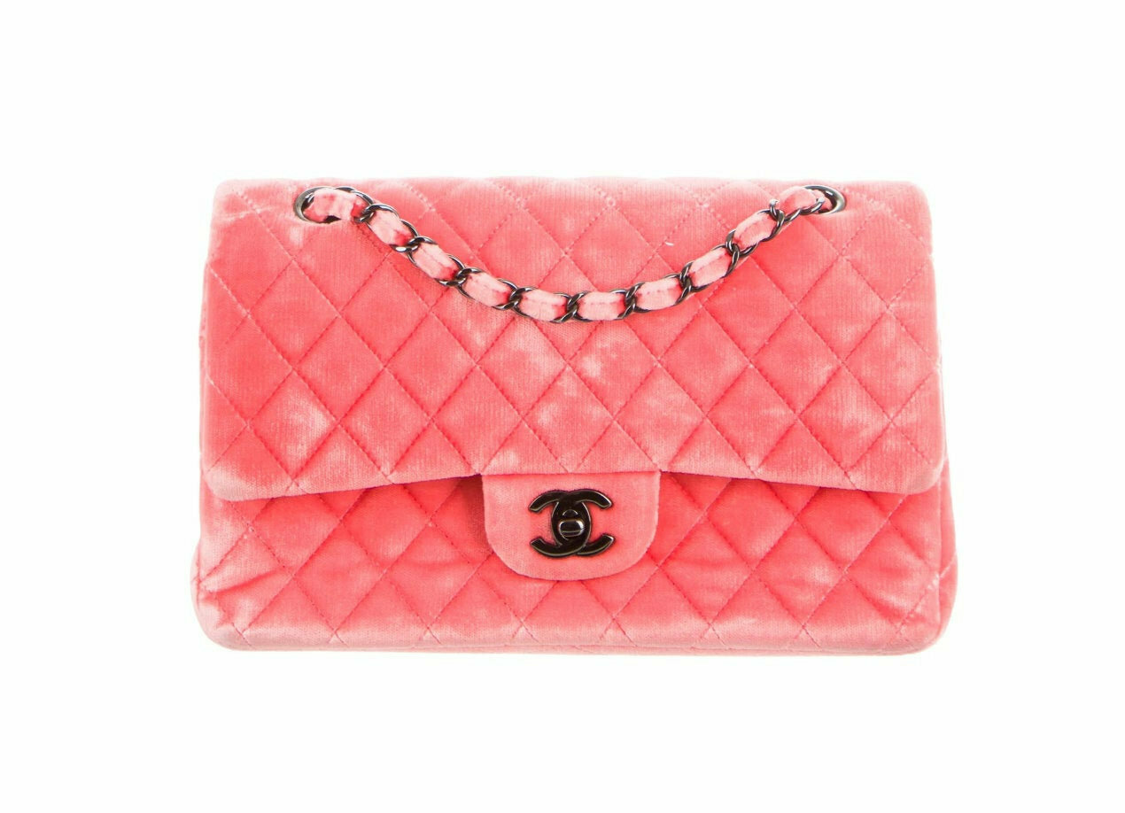 Vintage CHANEL CC Turnlock Logo Medium Double Flap VELVET Velour Pink Matelasse Quilted Classic Chain Handbag Shoulder Purse Bag - Rare!