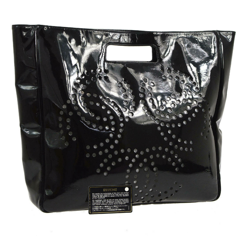 Vintage CHANEL XL Triple CC Logo Monogram Patent Leather Handbag Tote Shoulder Purse Bag - X Large Size!