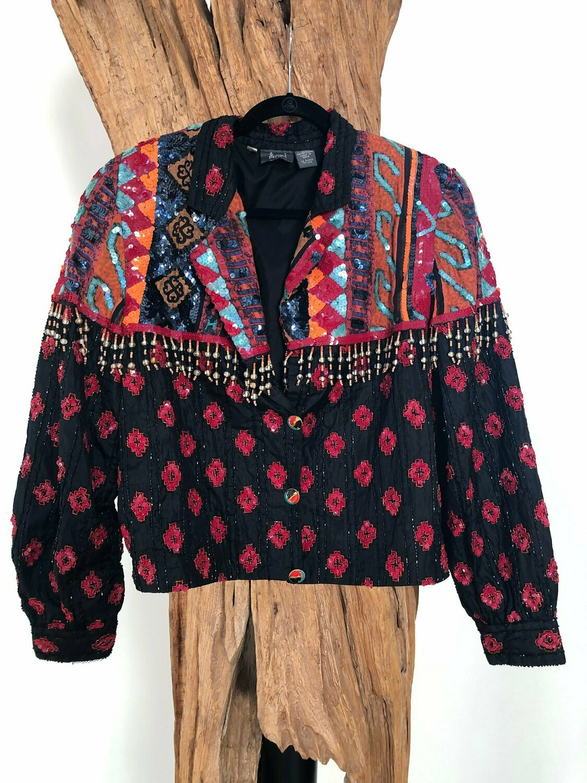 Vintage 80's Embellished Tribal BEADED Fringe Sequin Boho Festival Jacket Bolero Blouse Top Coat S M L