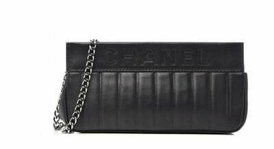 Vintage CHANEL Letters Logo Black Leather Classic Chain Shoulder Clutch Purse Evening Bag Handbag 2 Way!