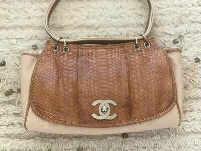 Rare Vintage Large CHANEL CC Turnlock Flap Brown Beige PYTHON Canvas Leather Shoulder Purse Bag
