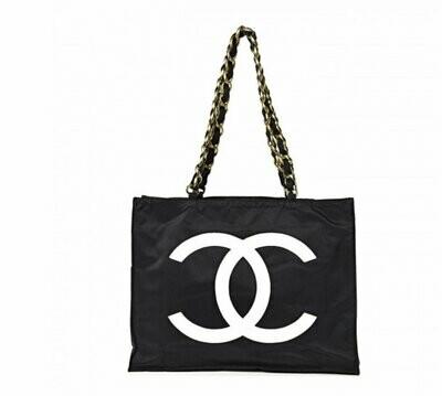 Vintage 90's XL CHANEL CC Logos Monogram Black White Canvas & Chain Tote Purse Beach Shoulder Bag