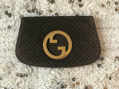 Vintage 70's GUCCI GG Monogram Print Brown Suede Leather Blondie GG Gold Hardware Clutch evening Bag Purse- Collectors item!