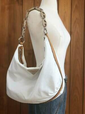 Vintage 90s PRADA Milano XL Wood Chain Hobo Handbag Tote Shoulder Satchel Purse White / Brown Carry All