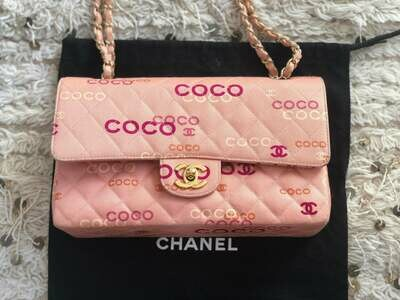 VINTAGE CHANEL COCO PRINT PINK DOUBLE FLAP BAG